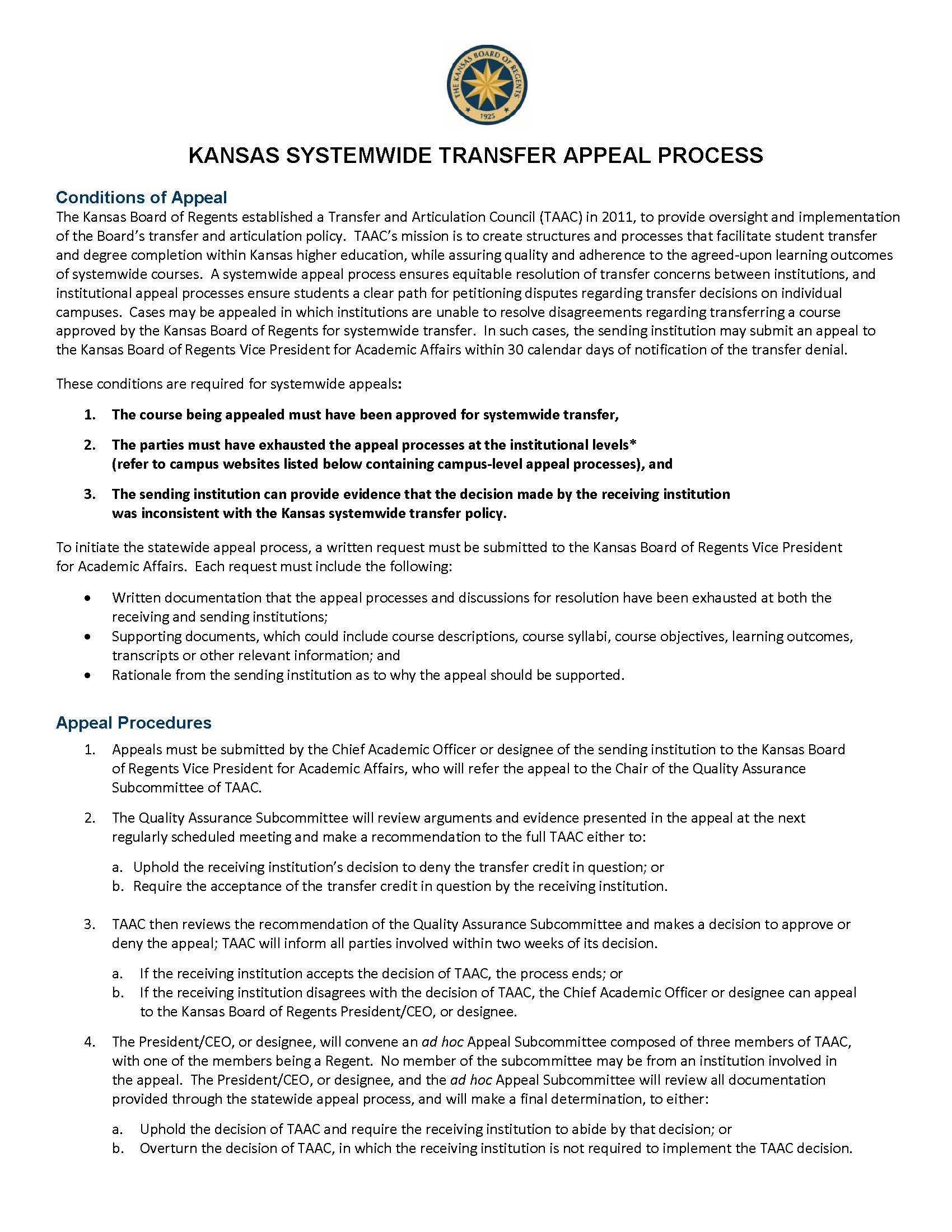 AA TAAC KANSAS SYSTEMWIDE TRANSFER APPEAL PROCESS 11 16